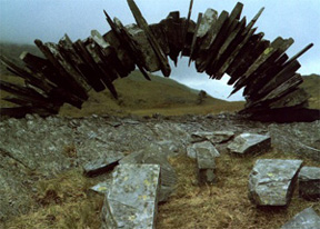 "Andy Goldsworthy: ""Slate arch made over two days, fourth attempt"" via uclblueash.eduMy favorite part about this? The 'fourth attempt' in the title."