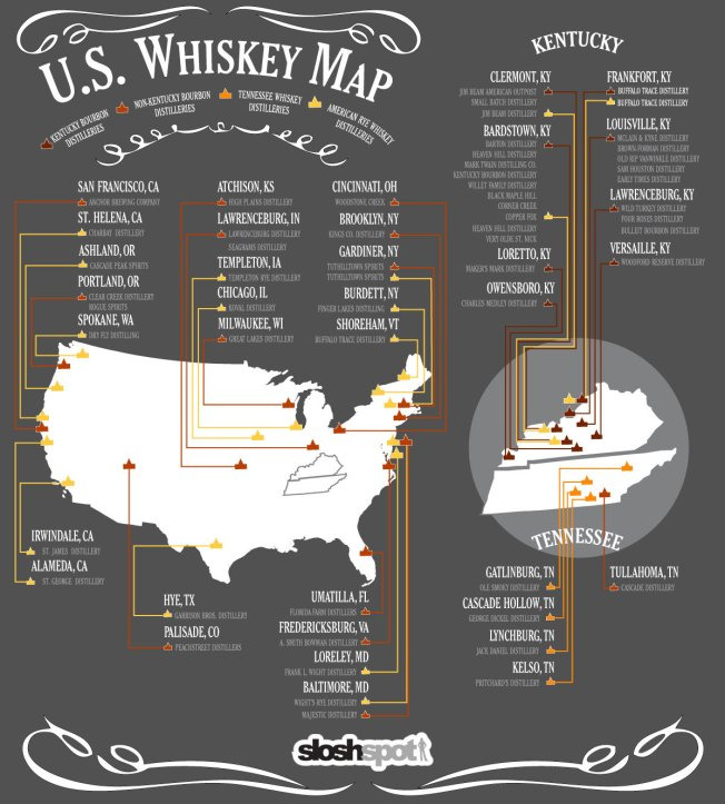 U.S. Whiskey Map Source: SloshSpot via Visual.ly