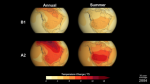 Mosaic of annual and summer temperature visualizations, two different projections of CO2 emissions Source: NASA
