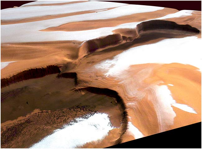 Pockets of water ice on the southern pole of Mars. Credit: ESA
