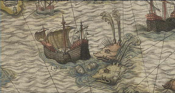 Whales attacking a ship on Olaus Magnus's Carta marina of 1539, this image from the 1572 edition.  Credit: Credit: National Library of Sweden, shelfmark KoB 1 ab