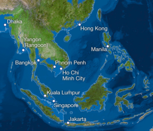 Asia Existing cities indicated. Source: National Geographic
