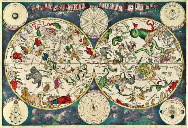 17th century celestial map by Dutch cartographer Frederik de Wit