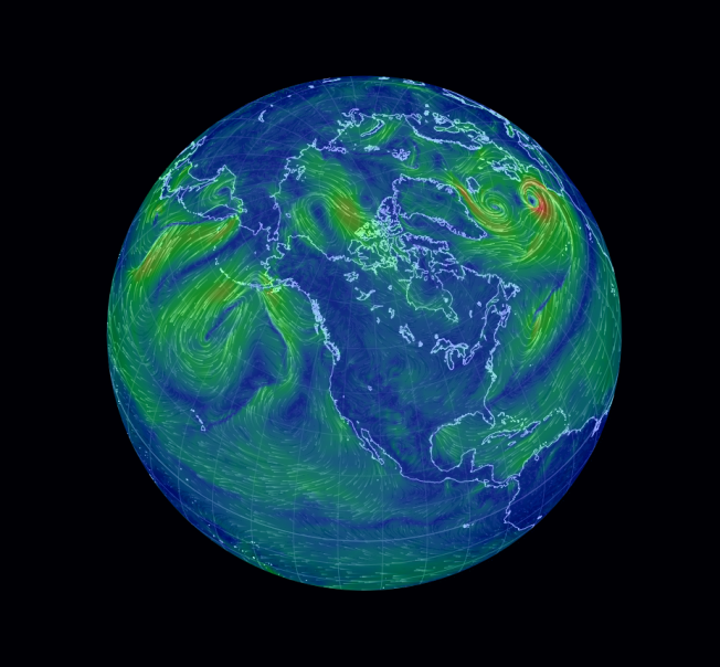The Earth Wind Map gathers weather data from the Global Forecast System at the National Center for Environmental Prediction, a NOAA initiative. The interactive map can be accessed here. Source: Inhabitat.com