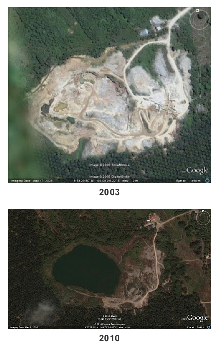 Limestone extraction at Bukit Panching, Malaysia, 2003-2010. The top image was taken after the 300 meter hill had already been mostly removed. The lower image shows what is now a lake where the hill once stood. Source: SiputKuning