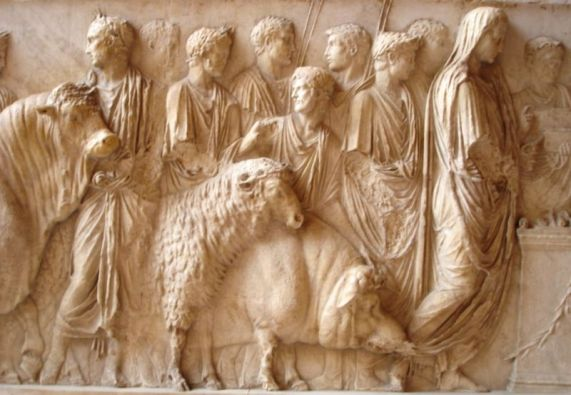 """Image of the suovetaurilia, a Roman sacrificial rite in which three animals - a sheep, a pig and a bull to the god of Mars.  """"That with the good help of the gods success may crown our work, I bid thee, Manius, to take care to purify my farm, my land, my ground with this suovetaurilia, in whatever part thou thinkest best for them to be driven or carried around."""" This 1st century Roman engraving is found in the Louvre. Source: Wikipedia"""