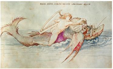 Arion riding a dolphin (1514) Artist: Albrecht Dürer