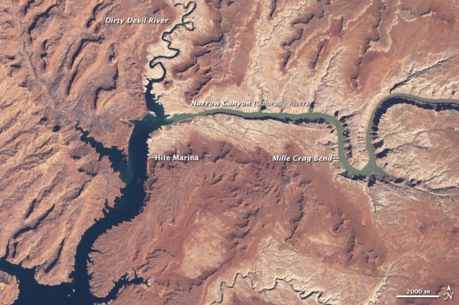 This satellite image shows Colorado River-fed Lake Powell, the second-largest man-made reservoir (1963) in the United States, in 1999. Lake Powell  Source: NASA/Earth Observatory
