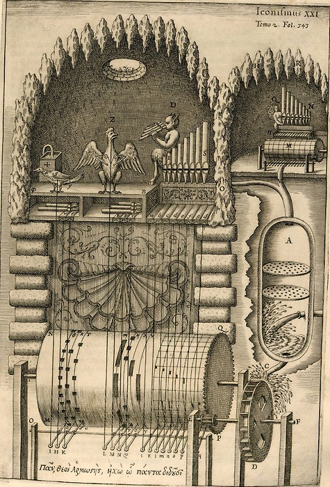 A water-powered automatic organ by Athanasius Kircher (Musurgia Universalis, Rome 1650)