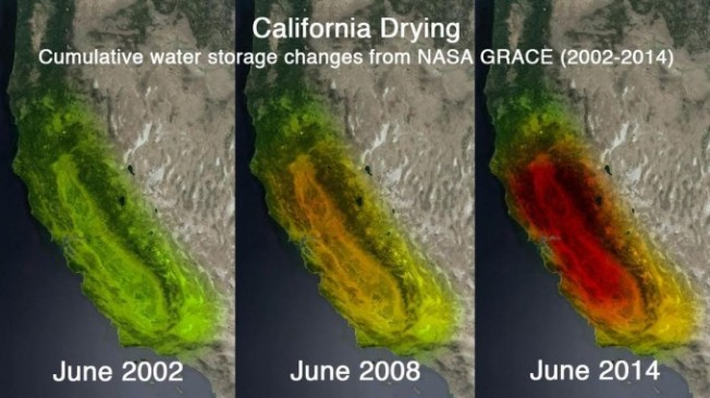Satellite imagery used to create images of California groundwater loss, 2002-1014. Source: NASA/Gravity Recovery and Climate Experiment (GRACE)