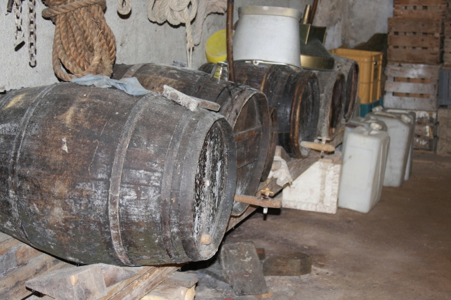 The old cider barrels. Well, some were for cider, a couple were also for the walnut oil the family used to self-press. Photo: PK Read