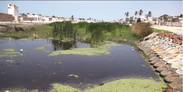 A water basin containing captured rainwater.  Image: Live With Water/Thomson Reuters Foundation