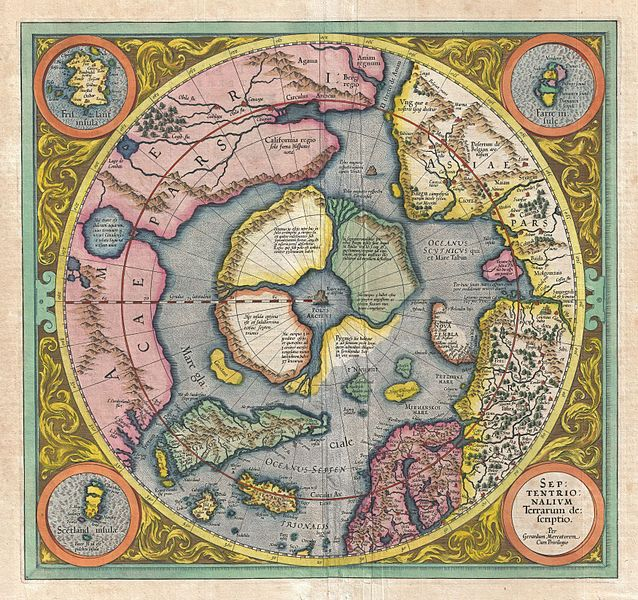 Mercator-Hondius Map of the Arctic (1606). Source: Wikipedia