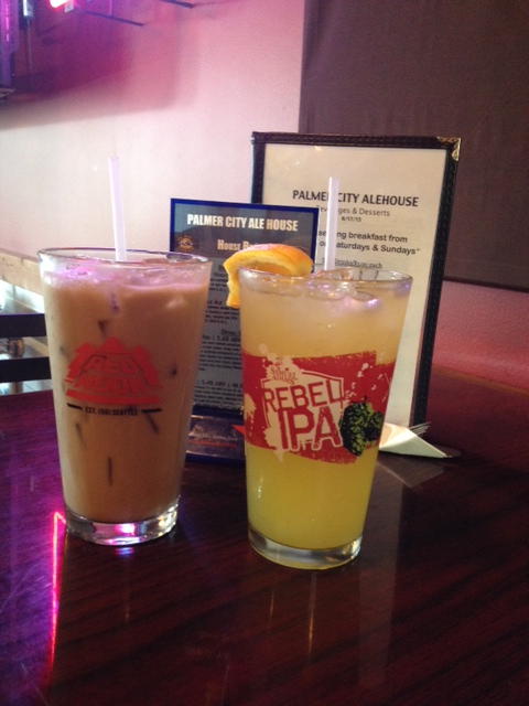 The Glacier Made Imperial Mimosa (right) and the Alaskan Birch Syrup Coffee Cooler (left).
