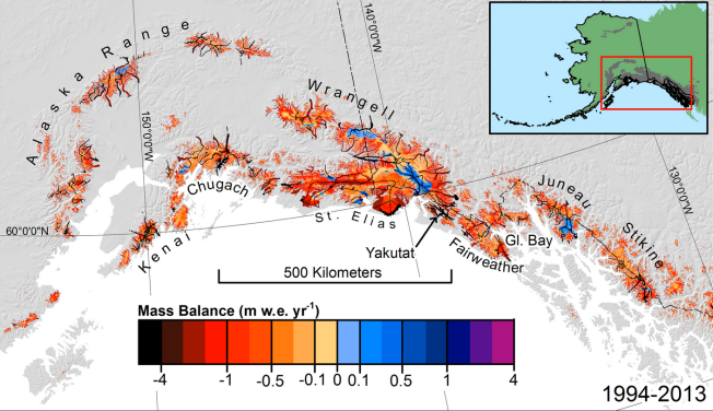 Estimated mass balance (1994-2013) for surveyed and unsurveyed glaciers in the most densely glacierized subregion of Alaska. The inset shows the entire region. Black lines indicate survey flight lines. Caption/Credit: Chris Larsen