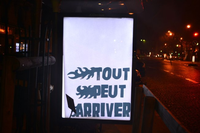 """Anything can happen"" poster in Paris. Source: Brandalism"