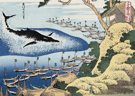 Whaling Scene on the Coast of Gotō. An ukiyoe by Hokusai. Circa 1830. Via: Wikipedia