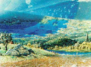 """The painting of the interior of a """"Model III"""" cylindrical Space Colony. Artist: Don Davis"""